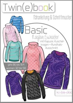 Twin Basic Raglan Sweater - Ebook - pattern and instruction as PDF file in Sewing Patterns For Kids, Sewing For Kids, Clothing Patterns, Sewing Clothes, Diy Clothes, Sewing Lingerie, Dress Making Patterns, Hoodie Pattern, Diy And Crafts Sewing