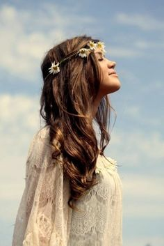 Hippie chick fashion photography hair girl outdoors flowers sun hipster lace long