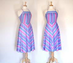 Vintage 70s Chevron Stripe Halter Dress / Boho by DuncanLovesTess, $48.00