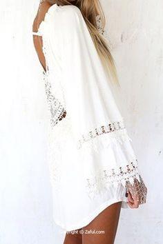 White Lace Splicing Backless Dress WHITE: Dresses 2016 | ZAFUL