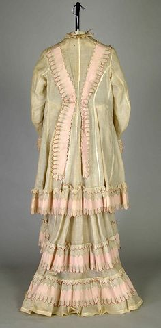Morning dress. Possibly House of Worth  (French,  1858-1956)  Designer: Possibly Charles Frederick Worth (French (born England), Bourne  1825-1895 Paris)  ca.  1875  Medium: cotton