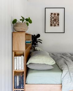 The Bookshelf Square Bed is a combination of our two most loved designs. Feating the Bookshelf Headboard and Square base handmade from locally sources Australian hardwoods. Headboard With Shelves, Bookshelves In Bedroom, Bed Shelves, Small Bookshelf, Bookshelf Design, Corner Shelves, Diy Storage Headboard, Bed Headboard Design, Headboards For Beds
