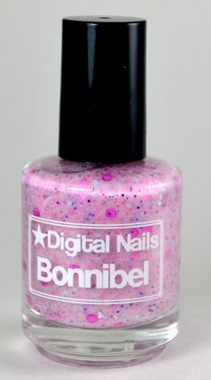 Bonnibel: a Digital Nails Nail lacquer inspired by Princess Bubblegum of Adventure Time- now with larger magenta circle gitter