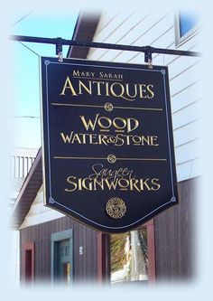 V-carved.  Hand painted and gold leafed. Created by Jackie Shields, www.saugeensignworks.com How To Antique Wood, Carving, Hand Painted, Signs, Antiques, Gold, Painting, Joinery, Antiquities