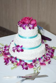 3 TIer #Wedding #Cake decorated with orchids  www.teatimeinc.com