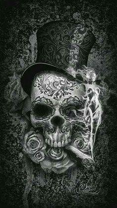 To match my girl sugar skull i have now! Digital Art Illustration, Skull Illustration, Datum Tattoo, Art Noir, Totenkopf Tattoos, Skull Artwork, Skull Drawings, Sugar Skull Art, Sugar Skulls