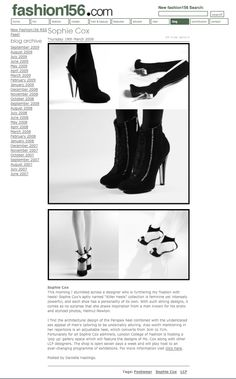 Sophie Cox Perspex Heels: My Very First Published Fashion Piece from London 2009!