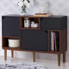 Wholesale Interiors Anderson Retro Oak and Espresso Wood Sideboard Storage Cabinet | AllModern