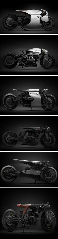 French-based Barbara Custom Motorcycles have taken the liberty to express their vision on the future of bikes and I am all for it. With edgy details and fierce forms, Barbara Motorcycles have driven concepts for bike brands such as Husqvarna, Triumph, and BMW. There is a strict power dynamic between real and fictional here, which is what makes these concepts a delight on the eyes.
