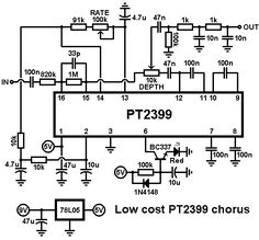 Easy pt2399 circuit. Basic guitar delay effect circuit