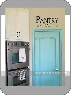 Kitchen Pantry Door - Vinyl Lettering Wall Decal with scroll ...