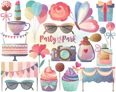 Watercolor Party Clipart  Watercolor Clipart by KennaSatoDesigns