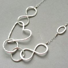 Mama Metal, Nursing Necklace, Hammered Heart Infinity Necklace, Linked Circles Heart Necklace, Mothers Necklace, Adjustable Circle Pendant Necklace Maggie McMane Designs