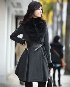 High Quality New 2014 Fashion Women Fur Coat for Ladies Woolen Jackets Female Fox Fur Collar Cashmere Winter Coat Gray Red Fashion Night, Winter Fashion, Fashion Coat, Coats For Women, Clothes For Women, Women's Clothes, Mode Mantel, Winter Stil, Winter Coat