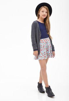 Classic Knit Cardigan (Kids) #F21Girls I love the skirt and cardigan!!!