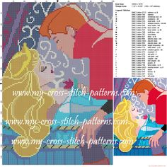 Aurora and Philippe cross stitch pattern