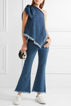 Marques' Almeida - Cropped Frayed Low-rise Flared Jeans - Mid denim - UK10
