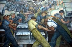 """a piece of Diego Rivera's """"Detroit Industry"""" fresco cycle at the DIA"""