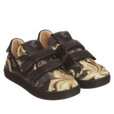 Young Versace - Black & Gold Baroque Leather Trainers | Childrensalon