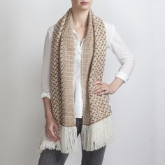 Hand Woven Fawn & White Alpaca Scarf. Hand woven to a complex 24 shaft design inspired by a field of square hay bales, a direct link to the wonderful golden tone of the Fawn fleece.