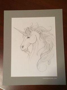Fantasy Unicorn Portrait in Graphite  Matted by brandywoods