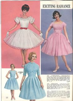 Vintage Fashion Delightfully darling frock fashions from a 1962 Lana Lobell catalog. Frock Fashion, Fifties Fashion, Retro Fashion, Womens Fashion, Vintage Fashion 1950s, Club Fashion, Moda Vintage, Velo Vintage, Lingerie Retro