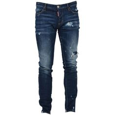 Slim Fit Denim Jeans ($500) ❤ liked on Polyvore featuring men's fashion, men's clothing, men's jeans, blue, menclothingjeans, mens blue jeans, mens ripped jeans, mens blue ripped jeans, mens destroyed jeans and mens faded jeans