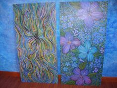 2'x4' plywood painted with acrylics  Making frames for both.
