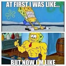 """Swoll Spongebob!  Unfortunately, those muscles were just for looking at... he cheated with a get swoll fast inflation system and the truth came out during a strength competition (saw this episode with my baby SwollJAs).  There are absolutely NO SHORTCUTS!  The work must be donw!  Who says Spongebob doesn't teach kids any lessons?  And as my beautiful wifey says, """"THEY'RE NOT JUST FOR LOOKING AT!"""" - SwollJA"""