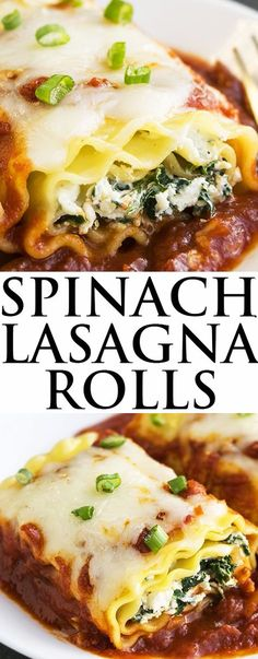 This quick and easy SPINACH LASAGNA ROLLS recipe requires simple ingredients. These healthy spinach lasagna roll ups are packed with low fat mozzarella cheese and ricotta cheese but still taste rich and creamy.  From cakewhiz.com {Ad}