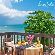 Enjoy your breakfast while looking at the beautiful beach #SandalsNegril. | Sandals Resorts | Jamaica