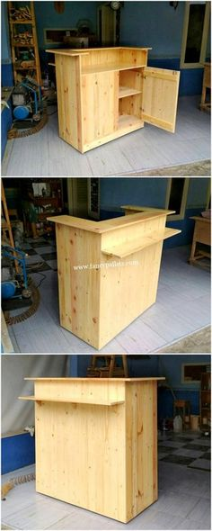 Stylishwooden counterwith pallets