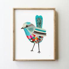 Superb Fairy Wren - Fine Art Print - Inaluxe is an independent art studio combining the talents of fine artists Kristina Sostarko and Jason Odd. Bird Drawings, Art Plastique, Bird Art, Botanical Prints, Nursery Art, Original Paintings, Original Art, Art Projects, Abstract Art