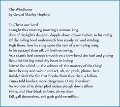the windhover by hopkins summary