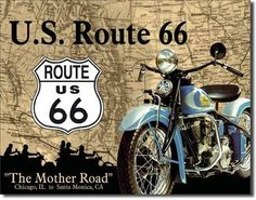 Classic Tin Signs US Route 66 The Mother Road Chicago to Santa Monica Route 66 Sign, Route 66 Road Trip, Road Trips, Tin Signs, Metal Signs, Road Routes, Santa Monica, Vintage Posters, Vintage Signs