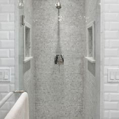 small shower stall with subway tile - Google Search
