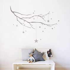 This winter branch with stars wall sticker is made from a re-usable fabric adhesive.You can choose from dark grey or palest grey to suit your decor. The design is available in two sizes so you can add a statement detail with the small size or create a feature wall with the large size.Featuring a wintry branch with scattered stars, it makes a beautiful addition to a nursery or child's room and looks particularly lovely when hung over a cot or bed. The branch has a subtle watercolour texture…
