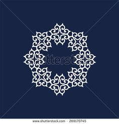 White ornament blue background in east style.