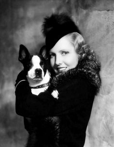 Jean Arthur and Boston Terrier, 1935.