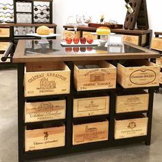 Hobbs Design- pieces built from wine crates that function like drawers. Buy wine crates for a similar project at www.winecratesand...