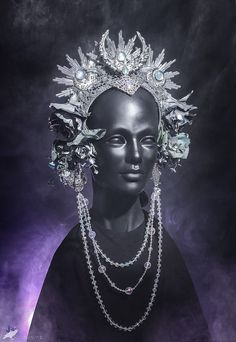 Selene Headdress - Moon, stars, flowers, silver, beads, headdress, headpiece