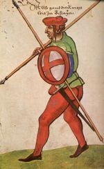 """Warrior. """"Trachtenbuch de Christoph Weiditz von seinen teisen nach Spanien (1529)und den Niederlandeden (1531/32)"""""""