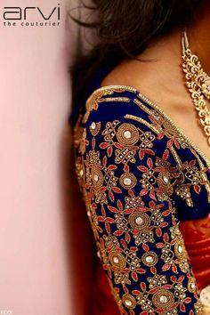 Blue blouse with maggamwork Wedding Saree Blouse Designs, Pattu Saree Blouse Designs, Fancy Blouse Designs, Dress Designs, Saree Wedding, Hand Work Blouse Design, Maggam Work Designs, Bollywood, Sarees