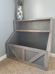 """Product info:-Wood toy bin with large storage and shelf!-measures roughly 42"""" wide by 40"""" tall by 20"""" deep-stained grey-Sealed for protection  ----------------"""