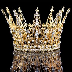New Elegant Design Clear Crystal Queen Crown Pageant Wedding Bridal Party Crown Gold Color Crystal Crown, Crystal Rhinestone, Clear Crystal, Hair Accessories For Women, Wedding Hair Accessories, Bridal Crown, Bridal Tiara, Wedding Veils, Bridal Headpieces