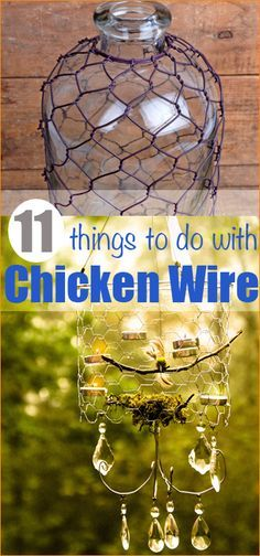 11 things to do with Chicken Wire. Creative ways to find new purpose for chicken wire. chandeliers, pots and cool garden projects using chicken wire. Chicken wire hacks for the DIY at heart. Diy Projects To Try, Crafts To Make, Fun Crafts, Craft Projects, Metal Projects, Outdoor Projects, Chicken Wire Crafts, Do It Yourself Inspiration, Deco Nature