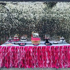The dessert table and backdrop at this Kate Spade Birthday Party are amazing!!! See more party ideas and share yours at CatchMyParty.com