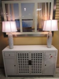 """Item #: 36306 Lattice front cabinet in a gray-white finish. This would be a wonderful TV cabinet for a smaller space or even a buffet for a dining room. It measures 62"""" long x 17"""" deep x 36"""" high."""