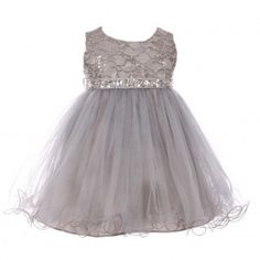 Baby Girls Silver Sequin Stone Lace Tulle Sleeveless Flower Girl Dress 6-24M