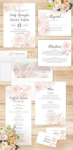 Delicate Watercolor Wedding Florals Invitations for a spring or summer garden wedding by Jill Means @minted